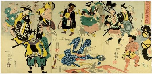 Otsu (Tokini otsue no kidai maremono) 1848 de Utagawa Kuniyoshi. Grabado en madera de color